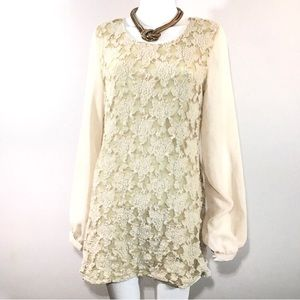 ⚜️Tulle Anthropologie Lace Bell-sleeve Mini Dress